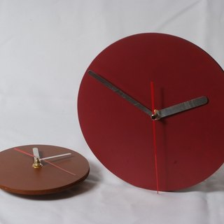 Minimalist style - round / square 100% leather, leather desk clock mute clock 14.5 cm -Mark Honor