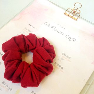 Dr.Pumpkin - Large Intestine Flower Hair Ring (Euphorbia Ring) - [Cotton] Series - Christmas Red