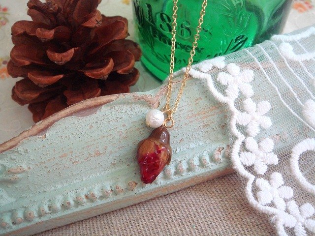 Garohands timeless beauty feel real rosebuds shell pearl short chain A264 birthday gift Valentine Gift