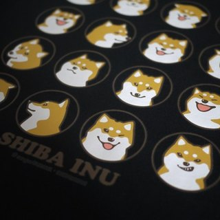 [Barn house] Shiba daily face T-shirt black