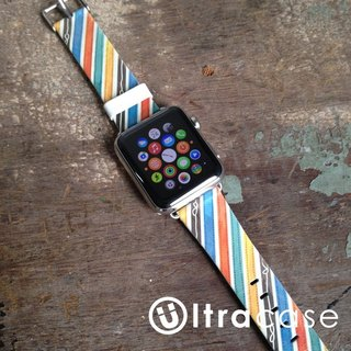 Apple Watch Series 1, Series 2 and Series 3  - Colorful Ribbons Pattern Printed on Genuine Leather for Apple Watch Strap Band 38 / 42 mm - 9