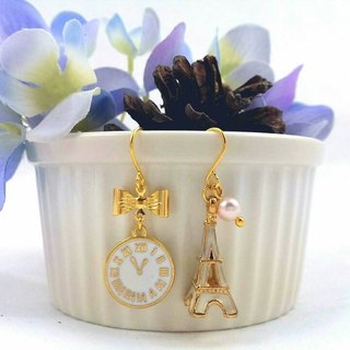 Paris Good times - White Glove asymmetric hypoallergenic earrings / ear hook