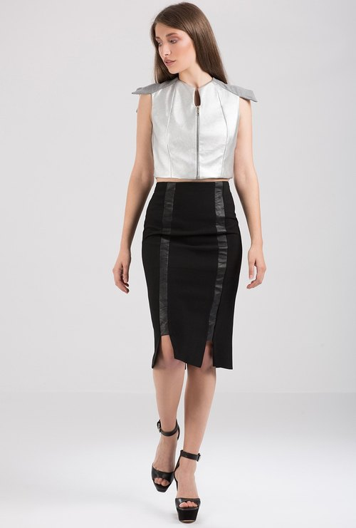 Pencil Skirt With Eco Leather Strips