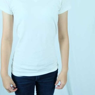 V-neck solid color 100% organic cotton T-shirt (female / refined white)