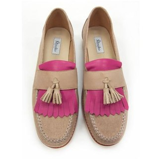 Classic Vintage Moccasin Tassel Loafers M1109 Fuxia