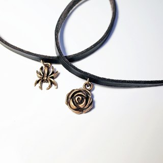 Leather Choker , Rose / Spider Necklace
