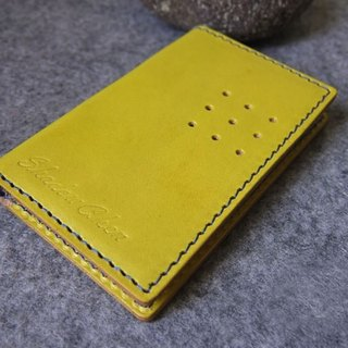 Handmade leather design leather business card holder hole shape design Card holder. Mustard yellow