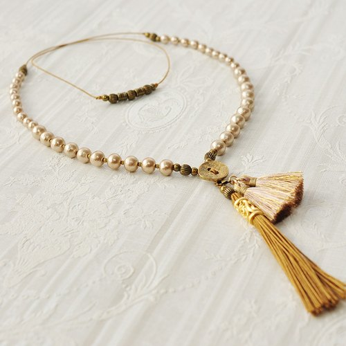 "2 way 米色棉珍珠流星項鍊 / 2wayCotton Pearl Tassel Necklace ""comet"""