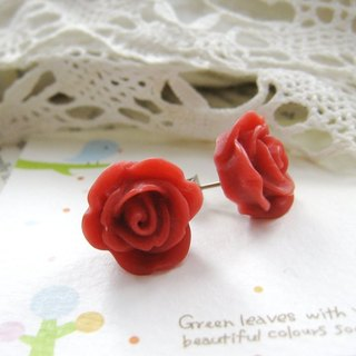Rose small earrings resin (dark)