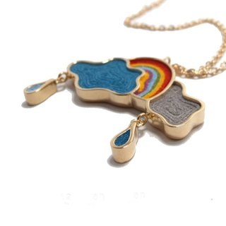 Handmade Sky and Rainbow Charm Necklace in Metal