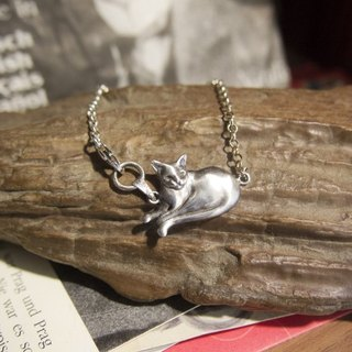 Handmade Silver Cute Lazy Cat Bracelet Gift For Cat Lover Her Friend Birthday