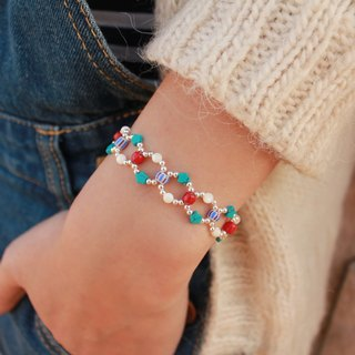 ◆hippie◆  Infinity│Limited-Edition Turquoise Meets Ceramic & Shell beads, Circle Beadwork Bracelet (Circus Version)
