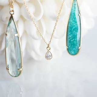 【14KGF】Necklace,Cubic Zirconia Tiny Teardrop