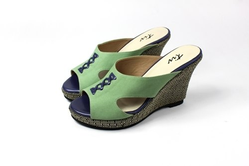 Green wedge sandals and slippers