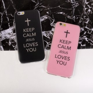 香港原創設計 黑色Keep Calm Jesus Loves You圖案 (圖左) iPhone X,  iPhone 8,  iPhone 8 Plus,  iPhone 7, iPhone 7 Plus, iphone 6/6S , iphone 6/6S PLUS, Samsung Galaxy Note 7 透明手機殼