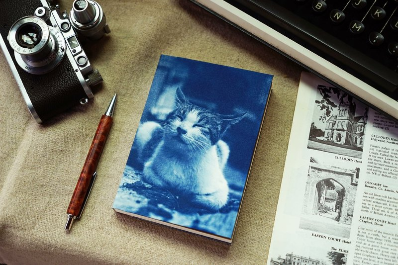 Handmade cyanotype notebook - Cat series - smiling