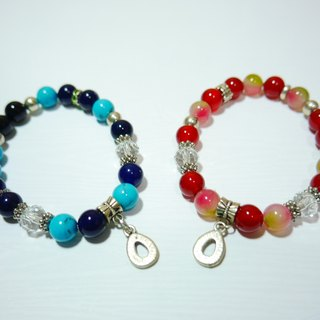 S & amp; A drop of blue and red beaded bracelet