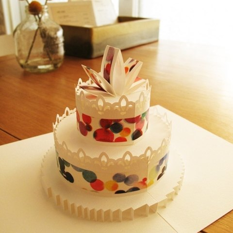 Three-dimensional paper sculptures Cake Card - Drawing little