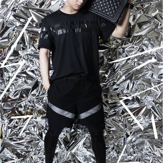 Taiwanese designer brand men's fashion design avant-garde pop star rivet short-sleeved shirt stitching leather black