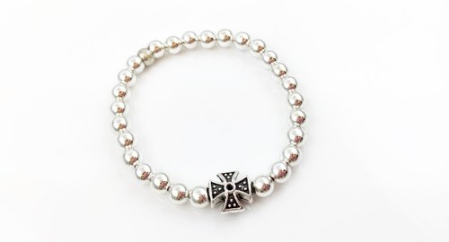 <Christmas composition> Cross silver beads bracelet