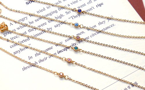 Mini diamond bracelet (7 colors) / sister chain / bridesmaid gift / wedding small objects