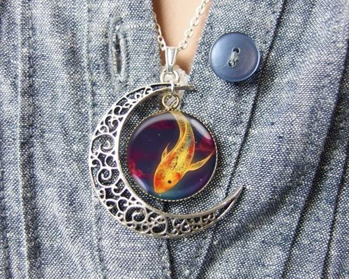 Space Goldfish - Moon Necklace ︱ ︱ birthday gift Valentine's Day gift