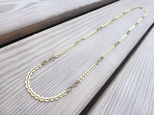"""Unlimited around"" Endless Love retro long necklace handmade brass"