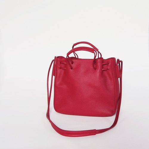 Clyde Cloud XS Leather Bucket Bag in Strawberry Color