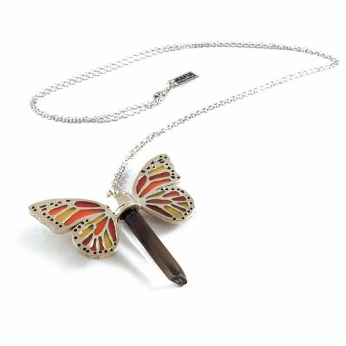 White bronze Butterfly wing pendant with smoky raw quartz stone and enamel color