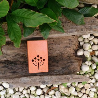 Hand-made pottery burned incense holder (side seat / brick orange)