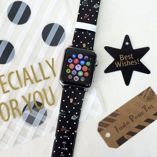 Apple Watch Series 1 Series 2 and Series 3 - Polka Dots Black Flowers Printed on Genuine Leather for Apple Watch Strap Band 38 / 42 mm - 63
