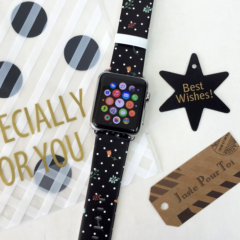 Black Polka Dots Flowers Printed on Leather watch band for Apple Watch / Fitbit