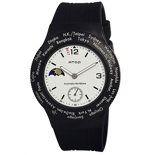 ATOP world time zone watch - black sports WWA-2AR