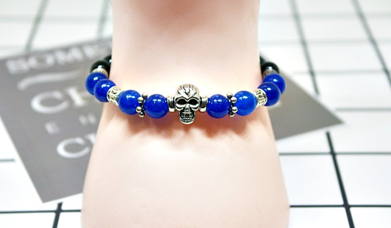 <Male x neutral handsome Style bracelet> Natural stone x alloy _ mysterious 骷髅 - limited * 1