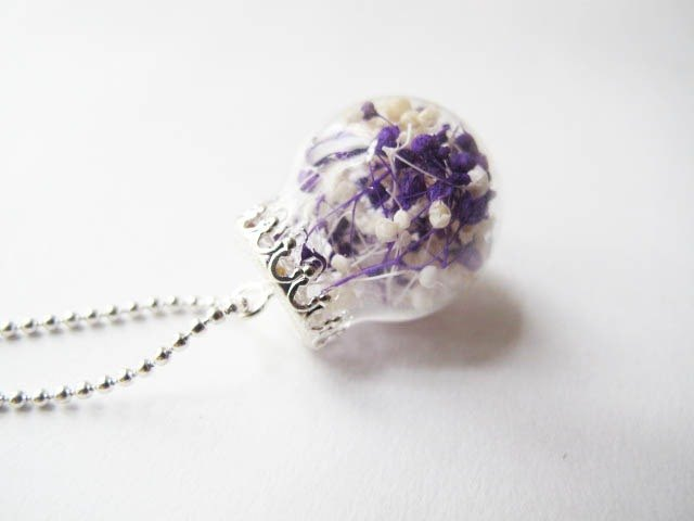 * Rosy Garden * stars taro milk glass ball necklace