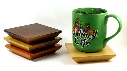 A practical gift can be distributed ~ wood coasters
