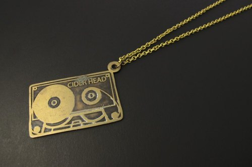 Brass necklace handmade cassettes -ART64