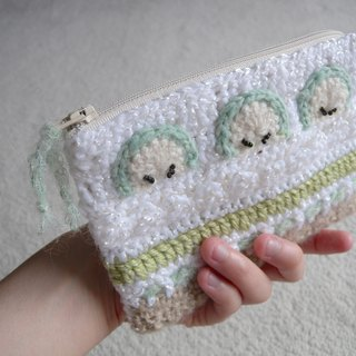 Hand Crochet cell phone bag / cosmetic bag / zipper pocket - green apple cake taste