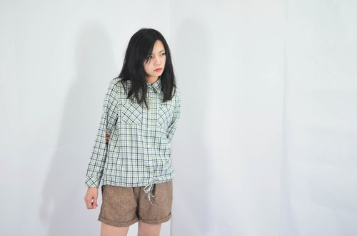 humming-Checked Drawstring Shirt /  Beige