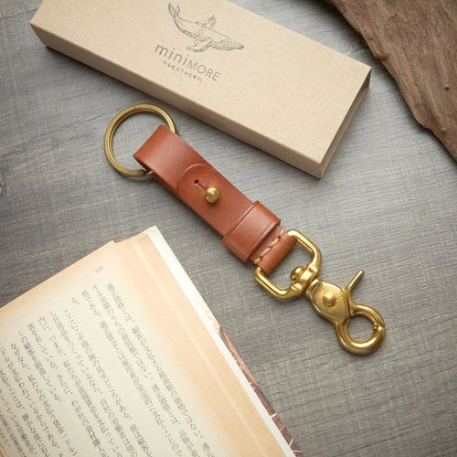Leather Key Fob BRASS belt loop  Personalize name //Keychain solid brass swivel