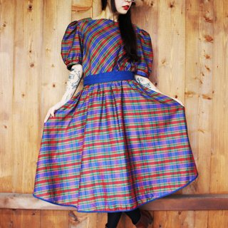 F968 (Vintage) purple, green and red plaid skirt big wave of dark blue waist straps attached short-sleeved vintage dress