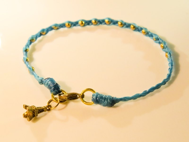 Wing Wing Hand-made jewelry wax cord woven bracelet (three strands series brass beads)