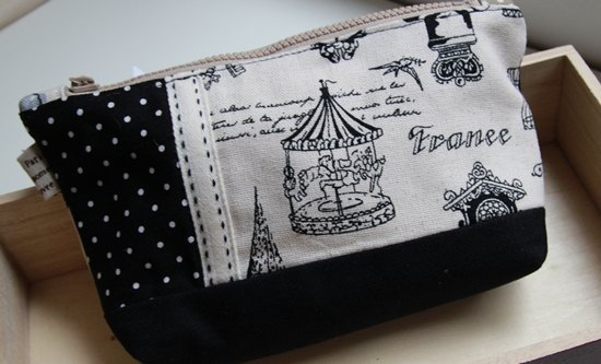 Cotton Fabric: Toiletry Bag, Makeup Pouch, Cosmetic Pouch, Cosmetic Bag, Black Spot