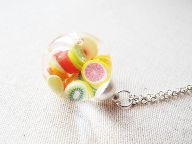 * Rosy Garden * Comprehensive Fruits flow crystal glass beads necklace