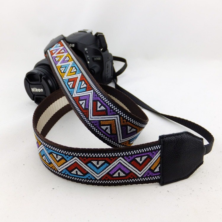 Camera strap can print personalized custom leather stitching national wind embroidery pattern 050