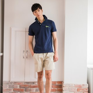 Cotton mesh Polo shirt dark blue classic
