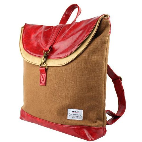 AMINAH- brown laminate Backpack [am-0273]