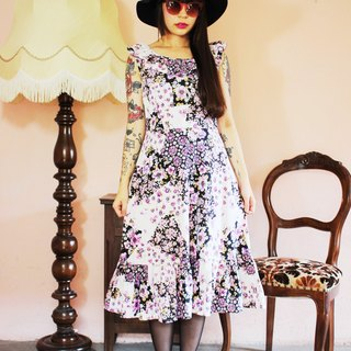 F1109 (Vintage) black with purple pink white flowers, vintage sleeveless cotton dress (wedding / picnic / party)