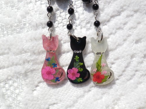 Anny's workshop Yahua handmade jewelry, small cat pendant 3-color