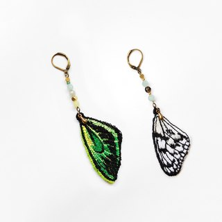 Embroidery Wings Earring / Paper Kite Butterfly & Richmond Birdwing Butterfly